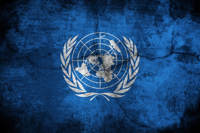 Grunge flag of United nations, image is overlaying a detailed grungy texture